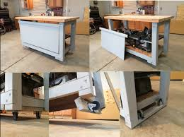 Workbench With Simple Retractable Wheels Just Lift And The Swing Easily Either Way
