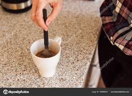 Closeup Of Young Girl Hand Making Coffee At Home Kitchen Photo By Bnenin