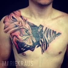 Ifltattoos Hunting Lion Chest Tattoo