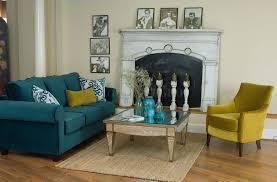 interior design teal blue living room sofa for vintage living