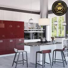 moderne landhausküche arle designerküche aus massivholz mit kochinsel und theke weiß rot