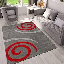 vimoda teppich modern wohnzimmer teppiche in grau rot kreisel maße 80x150 cm