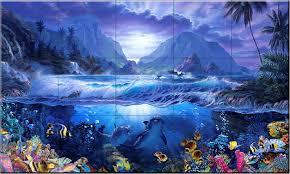 100 Christian Lassen Ceramic Tile Mural Dolphins Playground CRL By