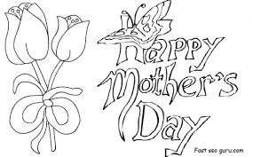 Printable Happy Mothers Day Card With Tulips Coloring Pages