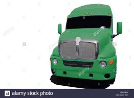 Big Green Semi Truck Isolated On A White Background Stock Photo ...