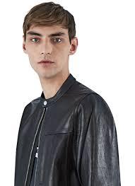 rick owens men u0027s oversized short sleeved leather jacket in black