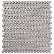 Home Depot Merola Penny Tile by Merola Tile Comet Penny Round Ash 11 1 4 In X 11 3 4 In X 9 Mm