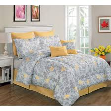 Yellow And Gray Bathroom Set by Gray And Yellow Forest Bird Comforter Set King 8 Piece At Home