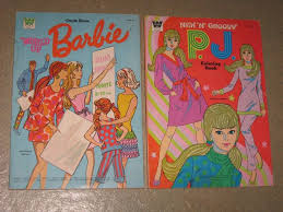1971 Two Barbie Coloring Books New N Groovy PJ World Of