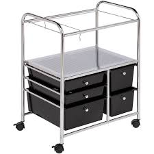 Locking File Cabinet On Wheels by Honey Can Do 5 Drawer Hanging File Cart Crt 01512 Chrome Black