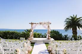 Wooden Arbor With White Fabric Orchids And Roses Ocean Views Bel Air Bay Club Demetrios Wedding