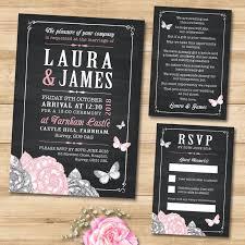 Floral Pink Butterfly Chalkboard Wedding Invitation Set Includes Invite RSVP Gift Poem