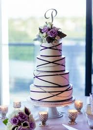 Modern and romantic purple silver and white wedding cake with