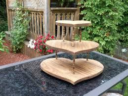 Wooden Cake Pedestal Rustic Wedding Cupcake Stand Heart Shaped Wood