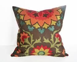 colorful suzani pillow decorative cushion covers organic dark
