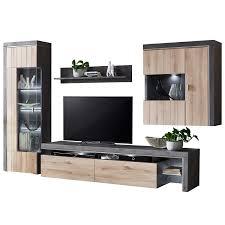 ideal möbel ribeira wohnkombination 04 moderne 4 teilige wohnwand mit vitrine lowboard hängevitrine und wandboard für ihr wohnzimmer korpus oxid