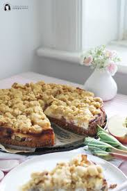 apple rhubarb cheesecake pie with crumble walnut crust apfel rhabarber käsekuchen mit