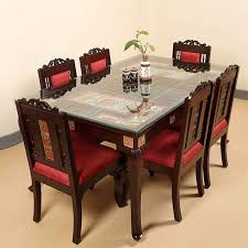 Moorni Teak Wood 6 Seater Dining Table And Chair With Warli Dhokra Work