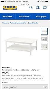 couchtisch hemnes tisch weiß wohnzimmertisch in 70794