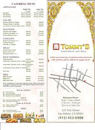 Tommys Patio Cafe Menu by Review Tommy U0027s Asian Bistro And Grill San Rafael With Menu