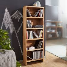 wohnling cd regal mumbai massivholz akazie standregal 90 cm hoch cd aufbewahrung 5 fächer bücherregal natur landhaus stil