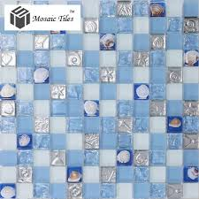 glass conch mosaic tiles blue and white shell seafish squared