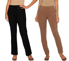 women with control tall tummy control boot cut and ankle pants set