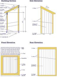 4x8 lean to shed plan elevations for the home pinterest
