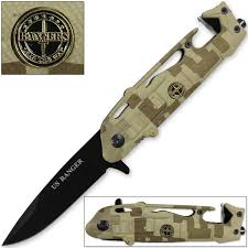 US Rangers Helicopter Tactical Folding Knife Spring Assist Emergency