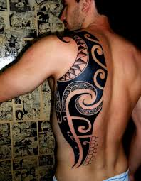 Polynesian Tribal Back Tattoo For Men