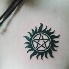 Supernatural Tattoo Of An Anti Possession Symbol On The Chest