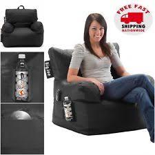 Big Joe Bean Bag Chair Black College Dorm Room Kids Video Gaming TV Drink Holder