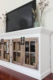 DIY Projects Farmhouse Media Cabinet Featuring Shades Of Blue Interiors Woodworking Plans By Ana White