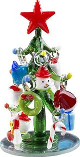 Christmas Tree Amazon by Amazon Com Lsarts Glass Christmas Tree With Ornaments Green 6