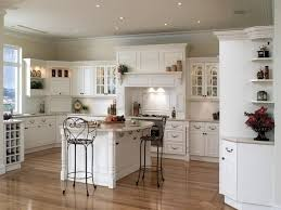Bright White Pantry Cabinets Country Kitchen Decor Grey Ceramic Subway Backsplash Rectangle Island Solid Wood Countertop