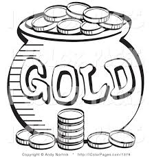 Vector Coloring Page Of A Stack Coins Near Pot Leprechaun Gold