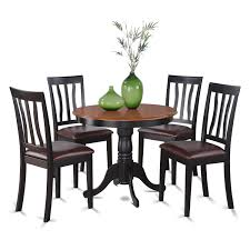 East West Furniture ANTI5-BLK-LC 5-Piece Kitchen Nook Dining Table Set,  Black/Cherry Finish, Faux Leather Seat, Cophagen 3piece Black And Cherry Ding Set Wood Kitchen Island Table Types Of Winners Only Topaz Wodtc24278 3 Piece And Chairs Property With Bench Visual Invigorate Sets You Ll Love Walnut Tables Custmadecom Cafe Back Drop Leaf Dinette Sudo3bchw Sudbury One Round Two Seat In A Rich Finish Sabrina Country Style 9 Pcs White Counter Height Queen Anne Room 4 Fniture Of America Dover 6pc Venus Glass Top Soft