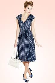 50s violet polka dot dress in blue