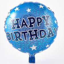 Happy Birthday Blue Foil Helium Balloon Card Factory
