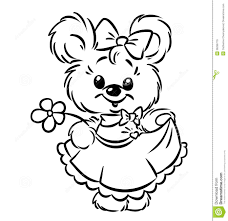 Royalty Free Stock Images Bear Girl Flower Coloring Pages Image
