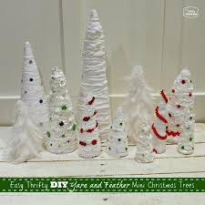Easy Thrifty DIY Yarn And Feather Mini Christmas Trees Green Red Blue At Thehappyhousie
