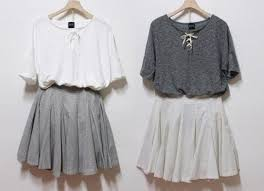 Skirt Fall Outfits Blouse Sweater Grey Whit Shirt White Lace Up T Dress
