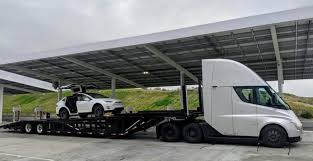 100 Falcon Trucking Tesla Semi Is Now Being Used To Move Tesla Vehicles Spotted With A