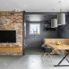 100 Industrial Style House Style Home Interior With Brick Wall Wooden Table