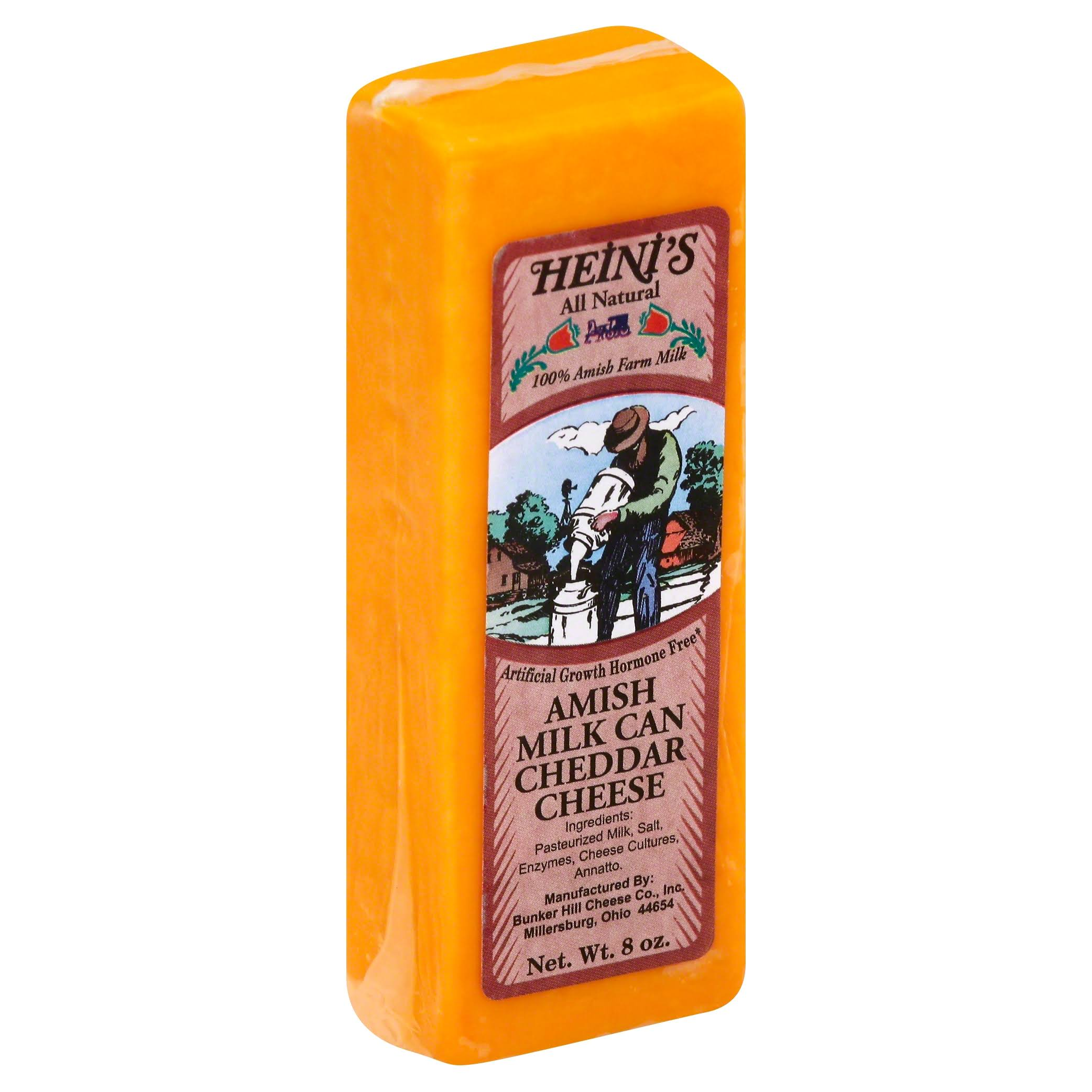 Heinis Cheese, Amish Milk Can Cheddar - 8 oz