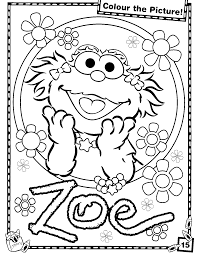Superb Zoe Sesame Street Elmo Coloring Pages With Page And Happy