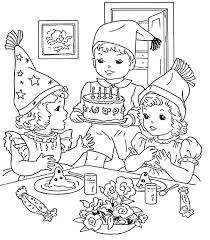 Cooking Birthday Cake For Party Coloring Pages