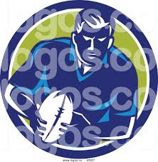Vector Logo Of Retro Rugby Player Running With Ball