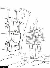 Cars 2 Finn Mcmissile Hiding Printable Coloring Page