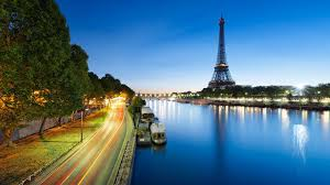 Lights Evening Tower City Eiffel Road Seine River Paris Wallpaper Full Hd Detail